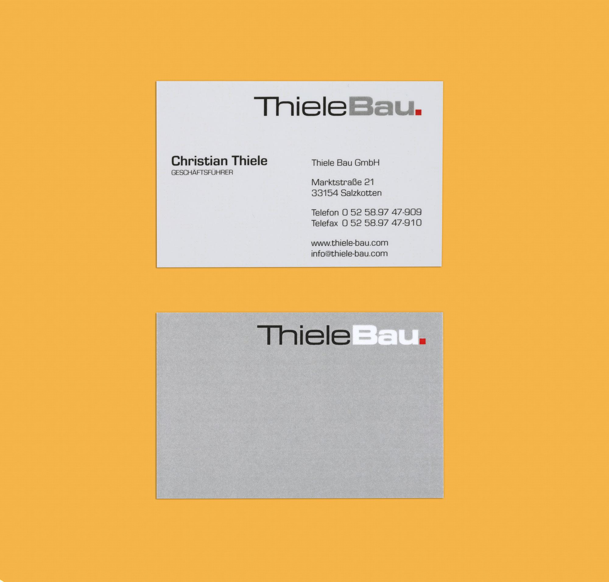 Hüppmeier Marketing und Design GmbH - Referenz - ThieleBau Visitenkarte