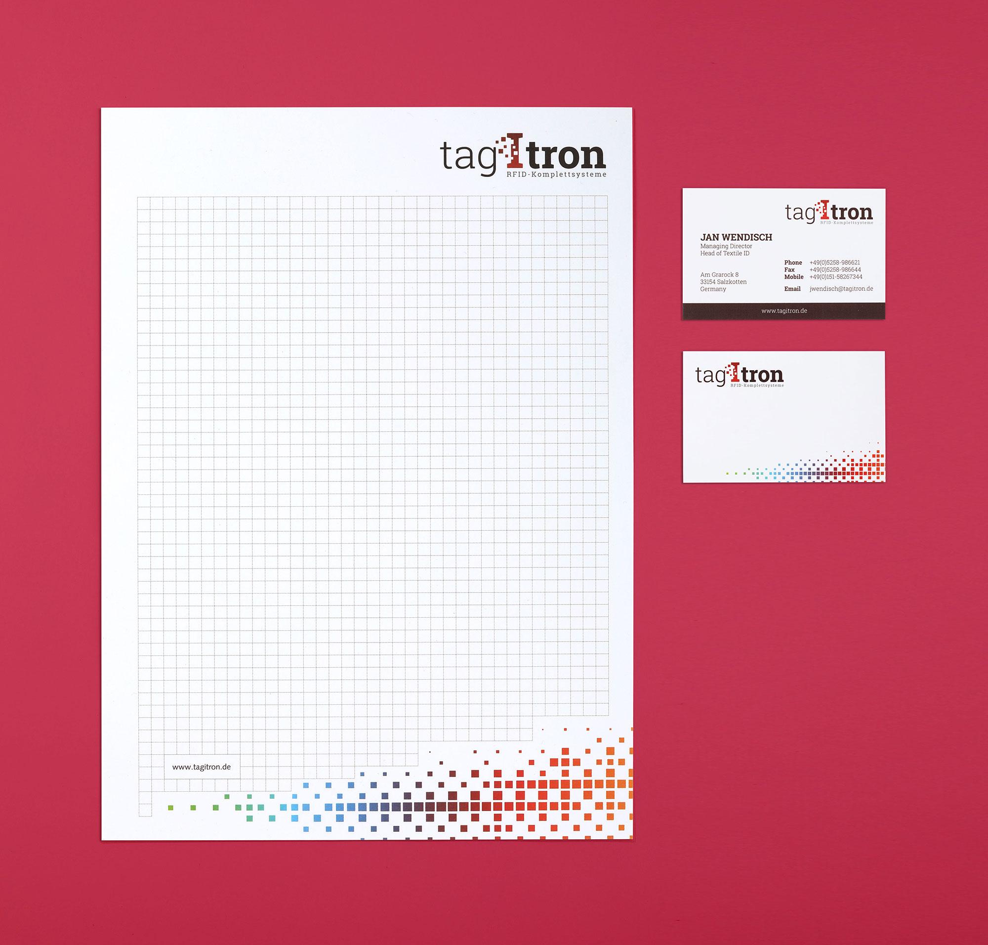 Hüppmeier Marketing und Design GmbH - Referenz - tagitron - Block - Visitenkarte
