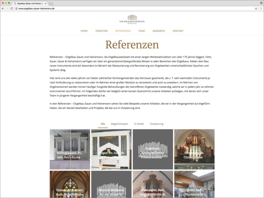 Hüppmeier Marketing und Design GmbH - Referenzen - Webdesign - Orgelbau Sauer & Heinemann Web Referenzen
