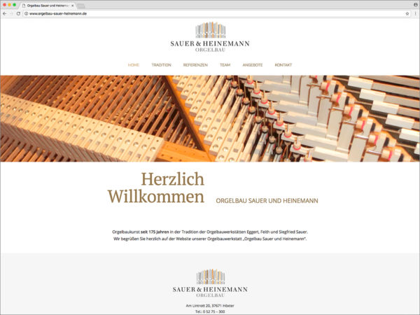 Hüppmeier Marketing und Design GmbH - Referenzen - Webdesign - Orgelbau Sauer & Heinemann Web Titel